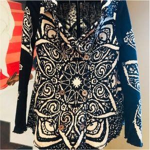 Free People Wrap Sweater Starburst Pattern Size L